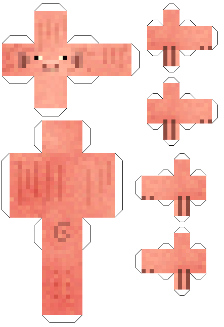 Майнкрафт из бумаги скины - свинья