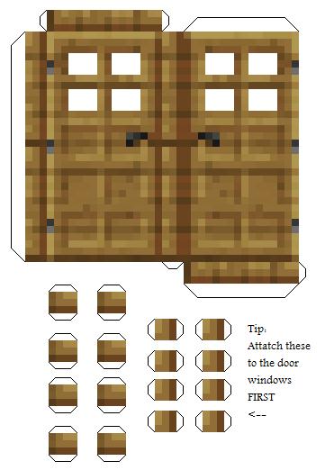 Модели майнкрафт из бумаги - дверь