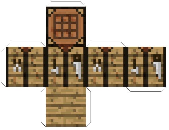 Minecraft поделки из бумаги - верстак