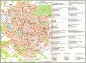 Туристическая карта Москвы с достопримечательностями на карте