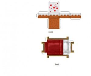 Конструктор из бумаги майнкрафт - кровать и торт
