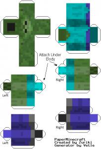 Майнкрафт из бумаги зомби