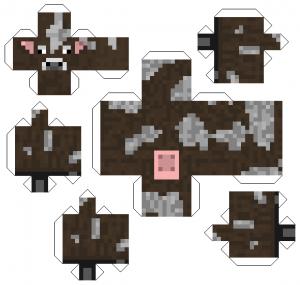 Паперкрафт из бумаги майнкрафт - корова