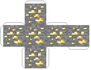 Распечатать поделки из бумаги майнкрафт - блок золотой руды