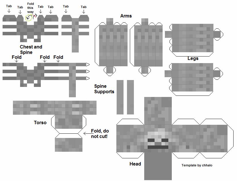 Фигурки майнкрафт из бумаги распечатать - скелет Иссушитель