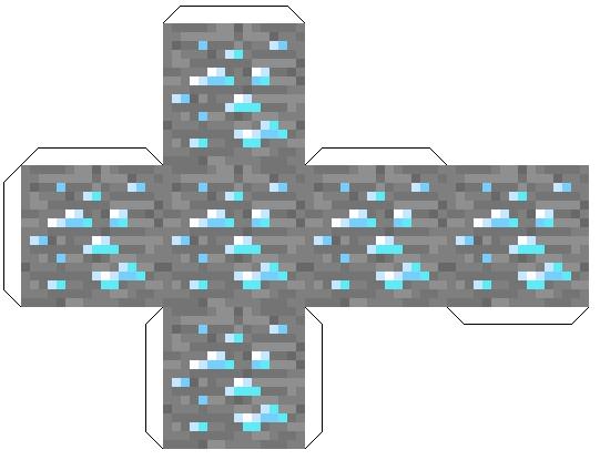 Minecraft из бумаги своими руками - блок алмазной руды